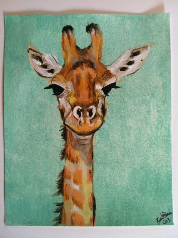 Items op Etsy die op Giraffe - Original Acrylic Painting on Acrylic Paper - 11x14 lijken