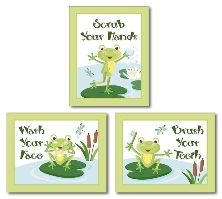 Kids Wall Art Nursery Decor Froggy Frog Set Of 3 Bathroom Prints