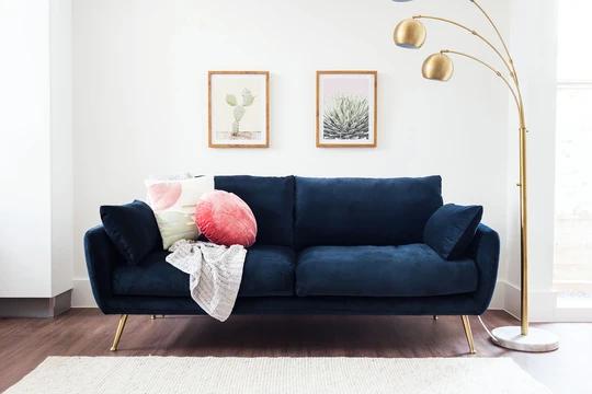 Harlow Sofa Blue Velvet Edloe Finch Furniture Co In 2020 Sofa Luxury Sofa Bed Blue Sofa