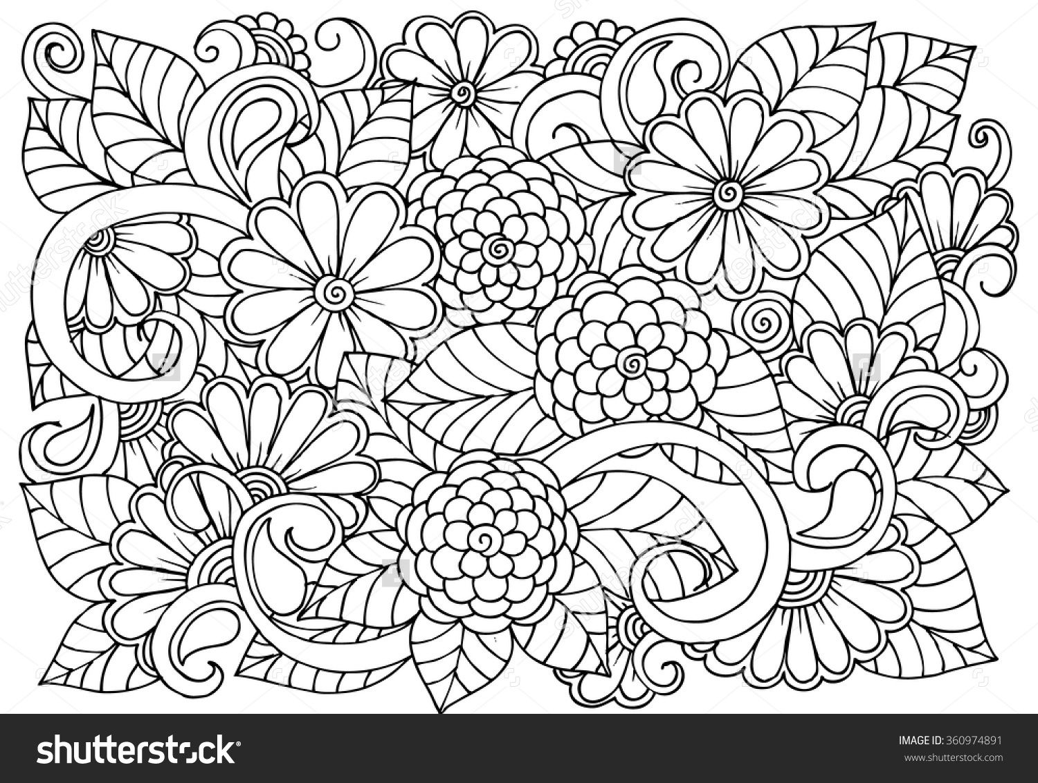Zen doodle colour - Doodle Floral Pattern In Black And White Page For Coloring Book Zendoodle Drawing