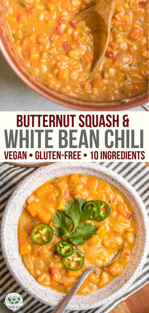 Butternut Squash & White Bean Chili #butternutsquashsoup