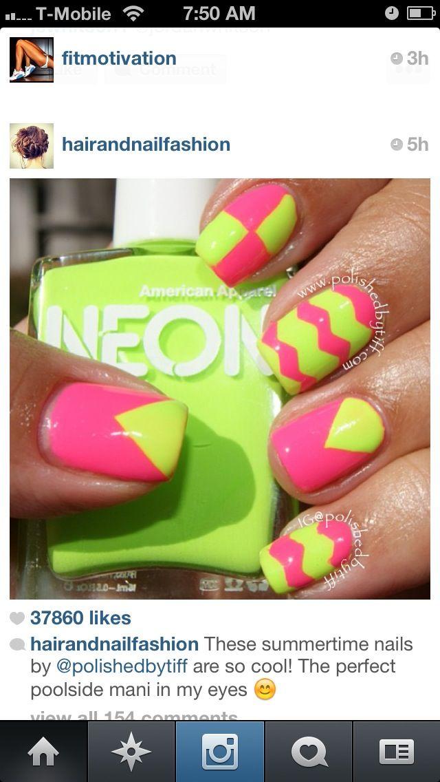 Hot pink & lime green nails | Cute nails | Pinterest | Vaca