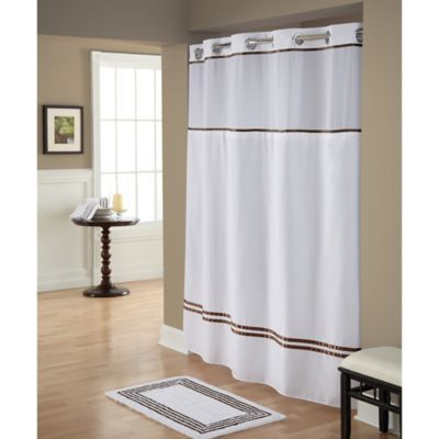 Hookless Monterey Shower Curtain In White Brown