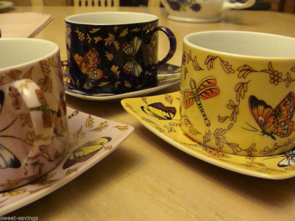 SMCS PORCELLAN FABRIK GERMAN DESIGN - SET OF 6 TEACUPS & SAUCERS W BUTTERFLIES
