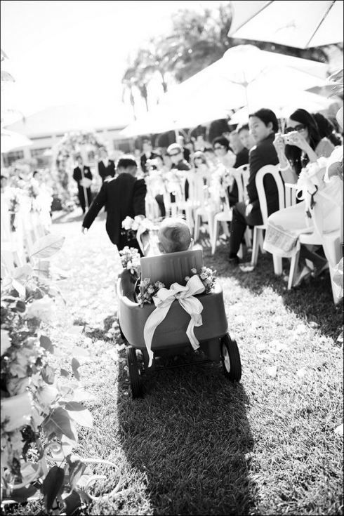 Baby Rori would be flower girl in a decorated wagon pulled by the maid of honor, my sister. <3