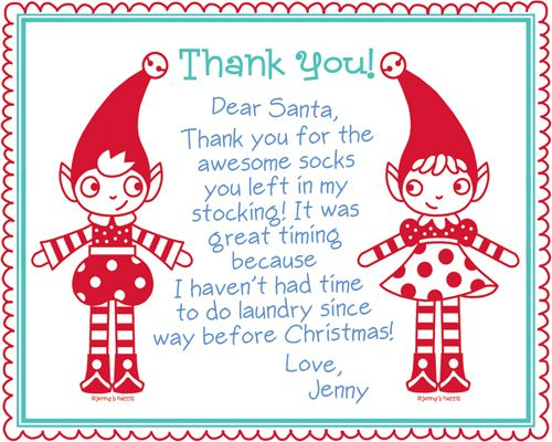 Super Cute Free After Christmas Thank You Note Cards For Kiddos To