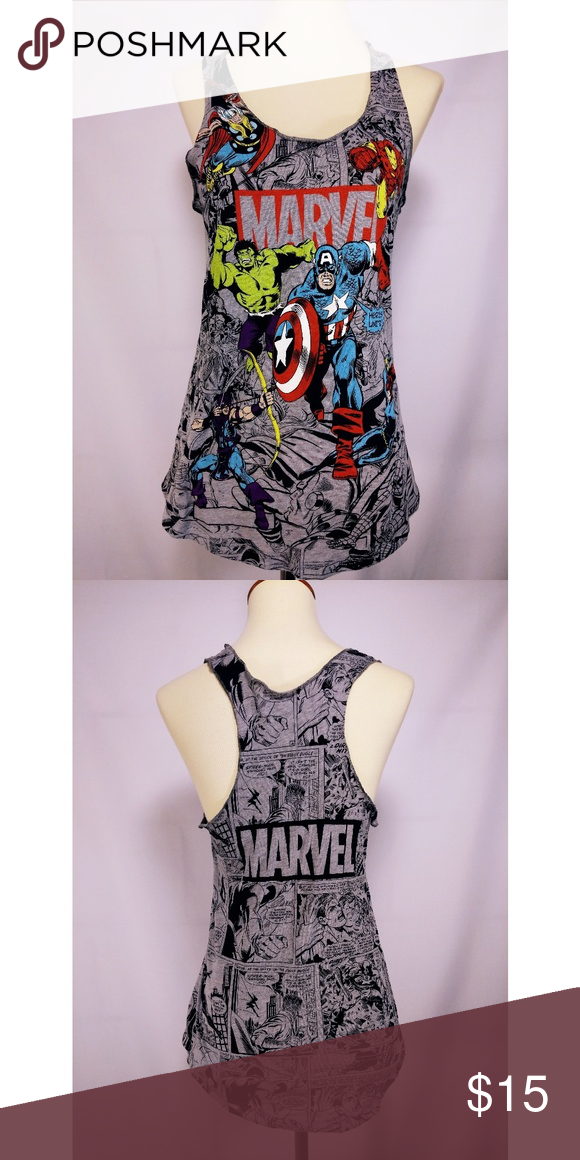 d4a2a160d Marvel graphic tee tank Brand: Marvel Size: Small Light and cozy tank top  with classic Marvel comics prints including the iconic Avengers.