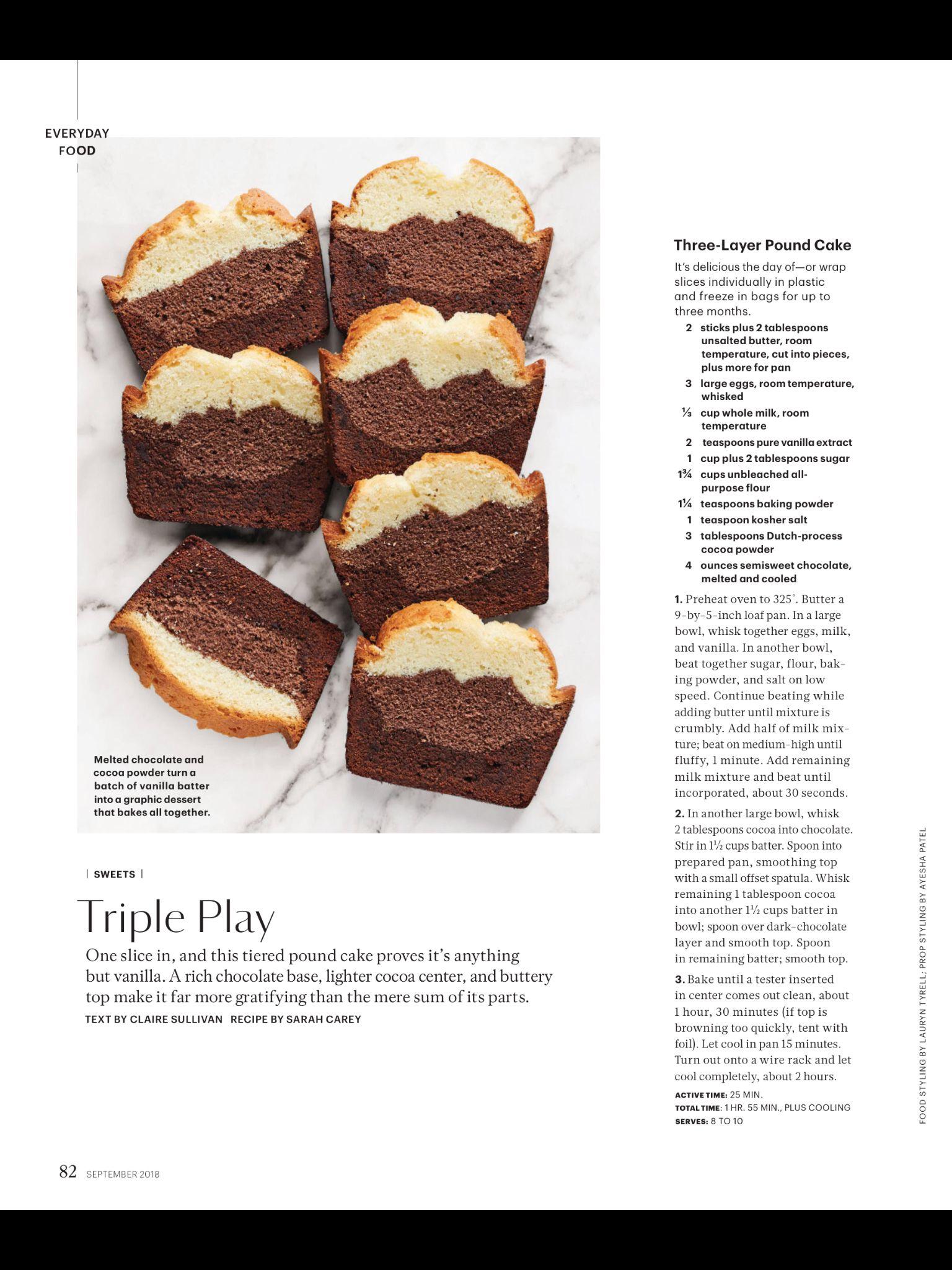 Three Layer Pound Cake Martha Stewart Living Just Desserts Martha Stewart Recipes Baking Recipes