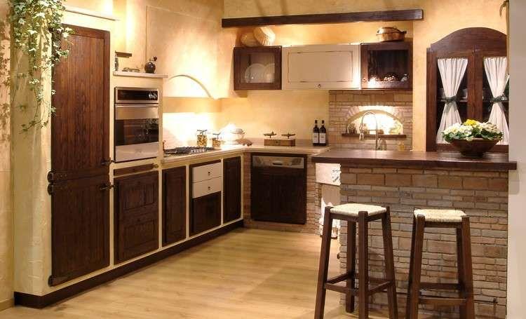 Cucine in finta muratura - Cucina in finta muratura in noce