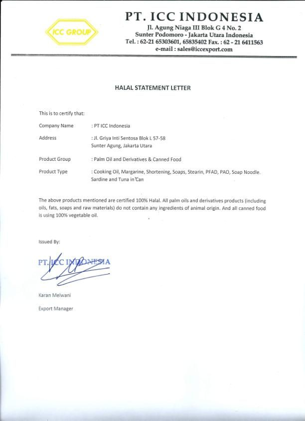 Halal Statement Letter  Gulfood