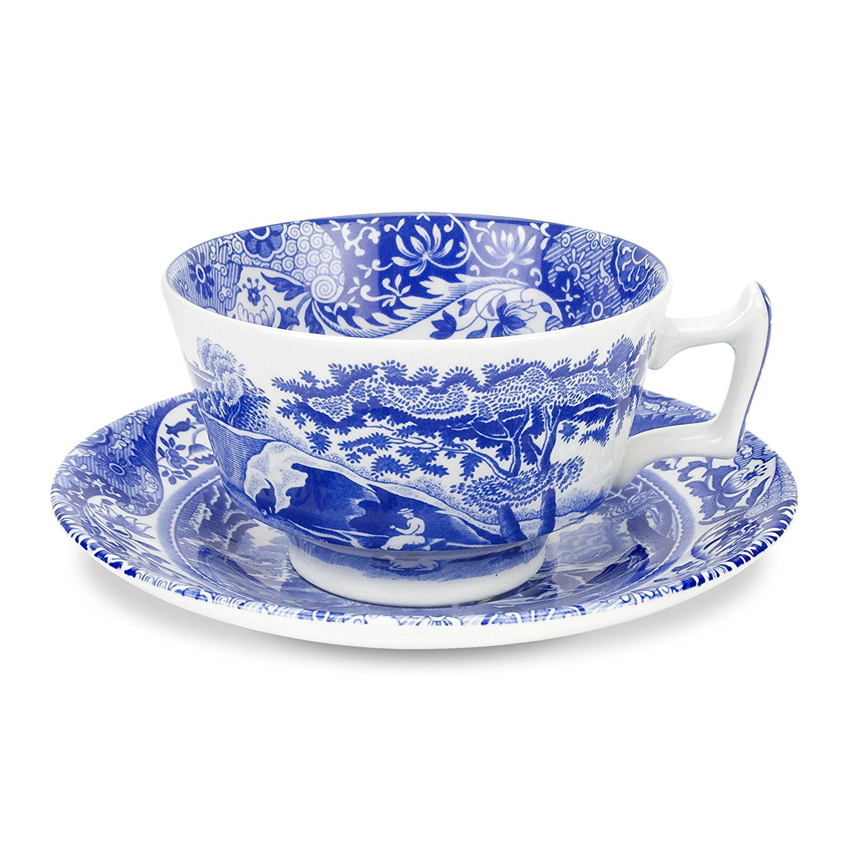 Spode Blue Italian Teacup and Saucer, Set of