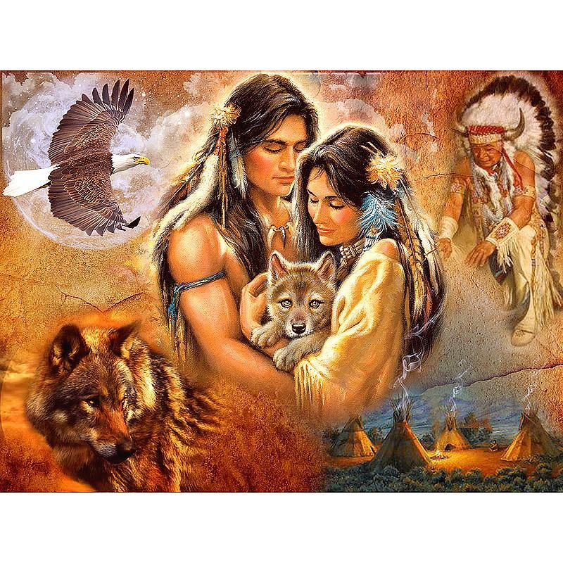 DIY 5D Full Drill Diamond Painting Embroidery Cross Stitch Indians Home Decor !