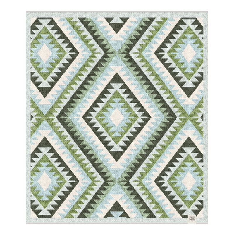The Bohemian Pesto and Pond Recycled Cotton Navajo Blanket