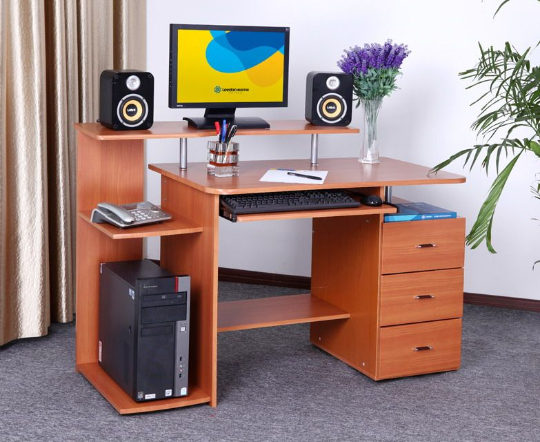 Charming Wooden Computer Tables For Home | Modern Interior Wood Computer Desk_Table    Pictures | Interior