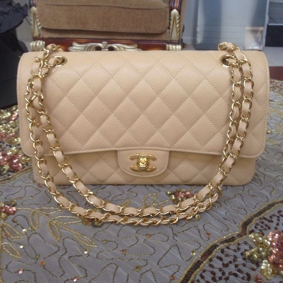 Chanel Beige Medium Large Classic Flap Authentic Bag In With Gold