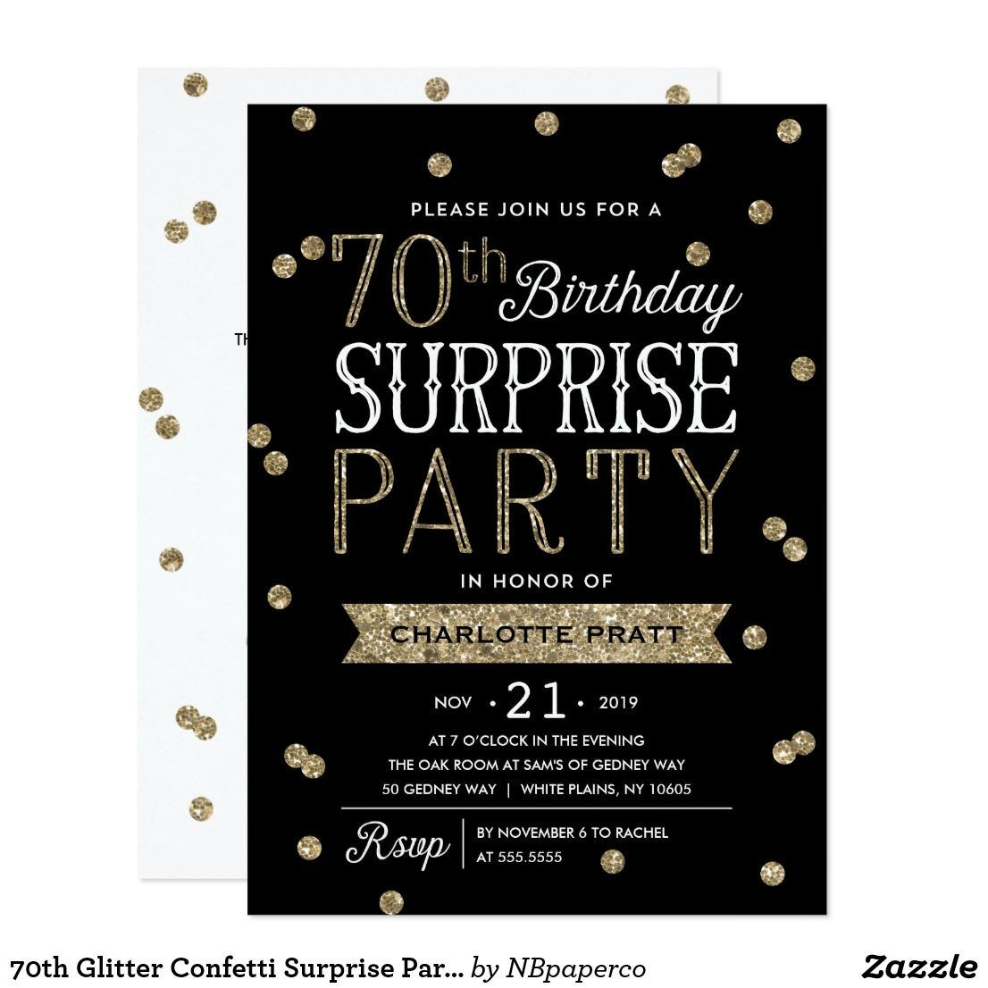 70th Glitter Confetti Surprise Party Invitation | Surprise party ...