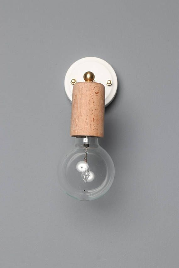 Handmade Industrial Style Simple Wall Sconce Mounted Light In White With Gold Details And Wood Bulb Holder Very Styli Sconces Wood Light Wall Sconces Bedroom