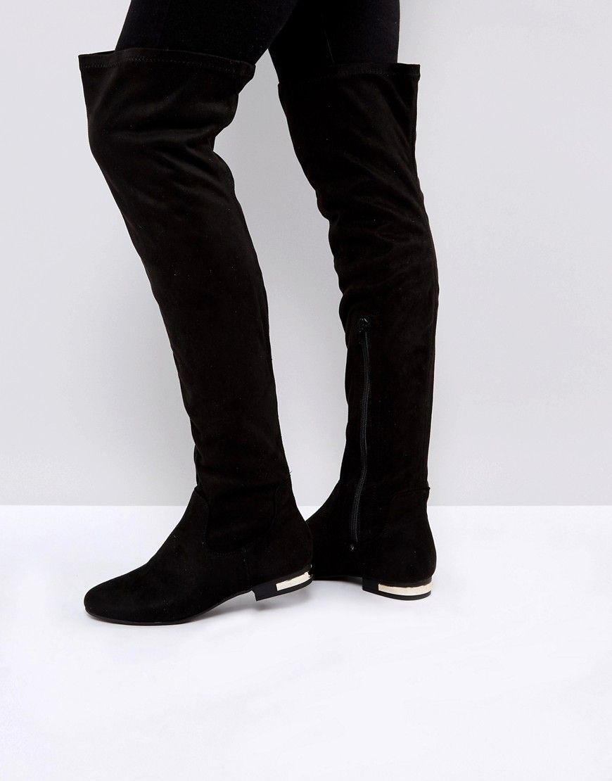 c05c1e37a8d8 Truffle Collection Metal Heel Insert Flat Over Knee Boot - Black ...