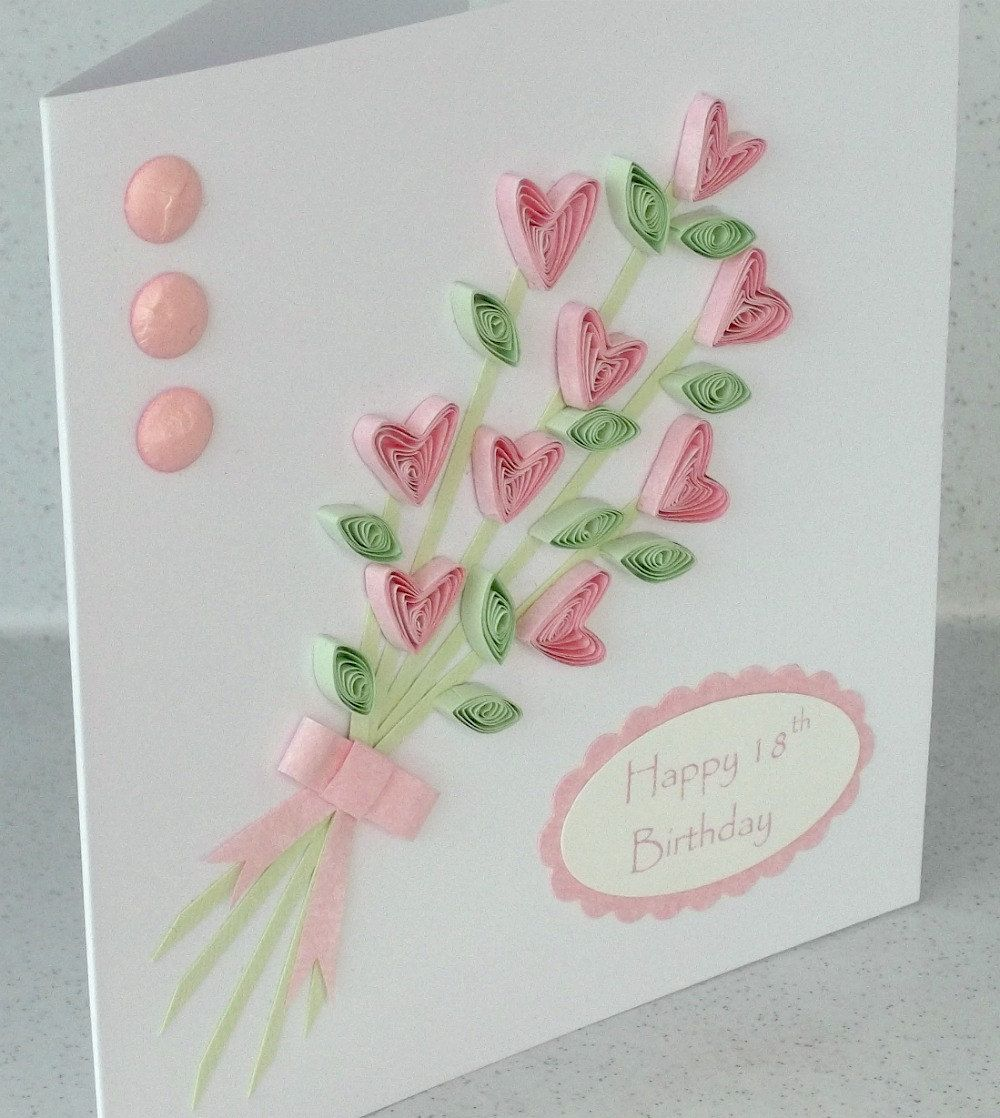 Handmade 18th Birthday Card Quilled Flowers Quilling Greeting