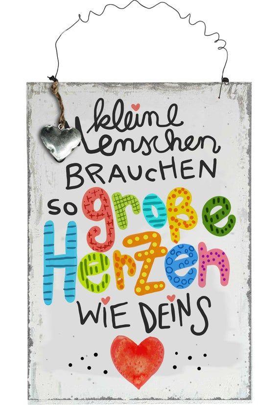 Erzieher Geschenk Erzieherin Vintage Holzbild mit Spruch Holzschild Tagesmutter Abschiedsgeschenk Kleine Menschen brauchen große Herzen wie