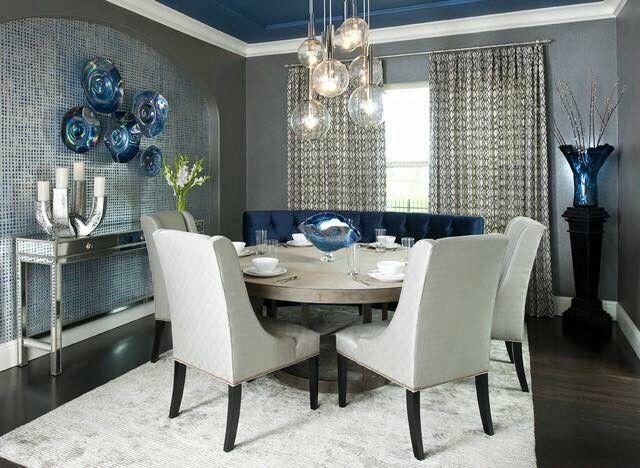 Comedor Blanco | Divino Y Moderno Comedor En Azul Blanco Y Plata Ame La Mesa