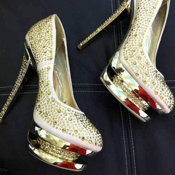 Gold dress pumps 6 inch