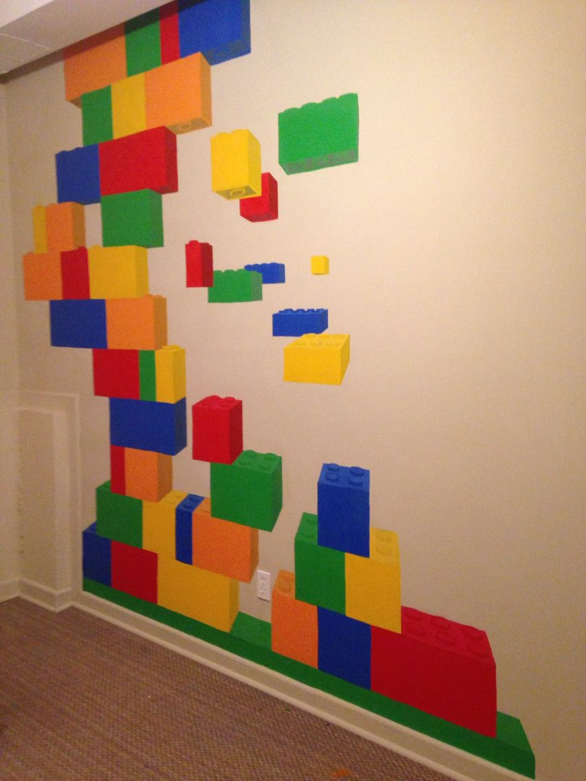 Room 2 Build Bedroom Kids Lego: Painted A Lego Mural In My Daughters Play Room