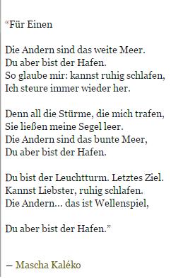 Mascha Kaleko Für Einen Mascha Kaleko Gedichte Gedichte