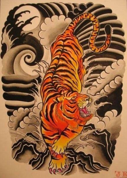 Japanese tiger japanese style tiger cool art 4 great tats pinterest - Tatouage tigre japonais ...