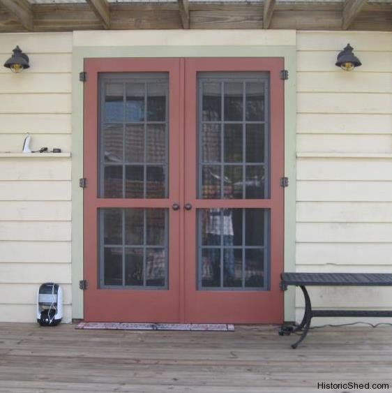 Paired wood screen doors for double french doors in st for Double french doors with screens