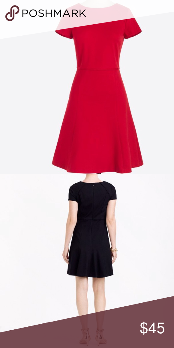 56ef01de70a NEW💡 J. Crew Short-sleeve Flounce Ponte Dress Color  Red. Poly. Fitted at  waist. Falls to knee. Back zip. Machine wash cold J. Crew Factory⭐ J. Crew  ...