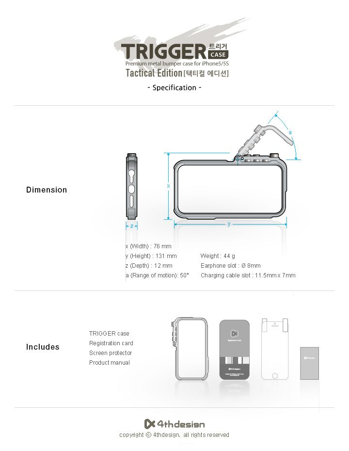 Trigger Aluminum Case Tactical edition for Apple iPhone 5