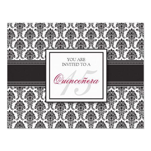 TBA} ENGLISH Black Damask Quinceanera Invitation Best Quinceanera - best of invitation english
