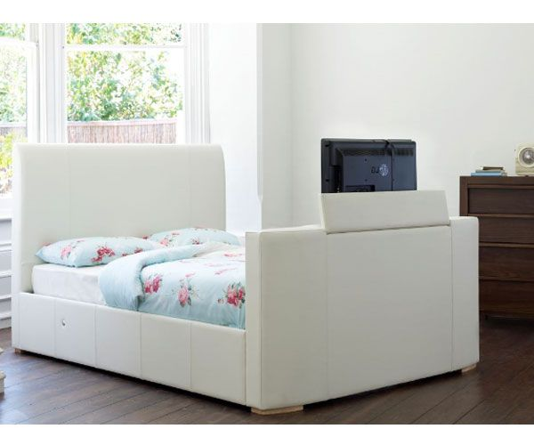TV Beds Co New York 6FT Superking Leather TV Bed -  Ivory - Free 6FT Sorrento Mattress
