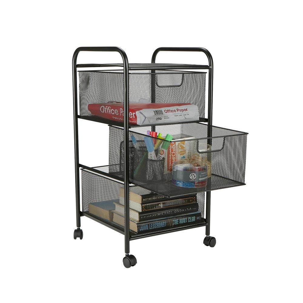 Mind Reader 3 Drawer Mesh Rolling Cart, Metal Storage