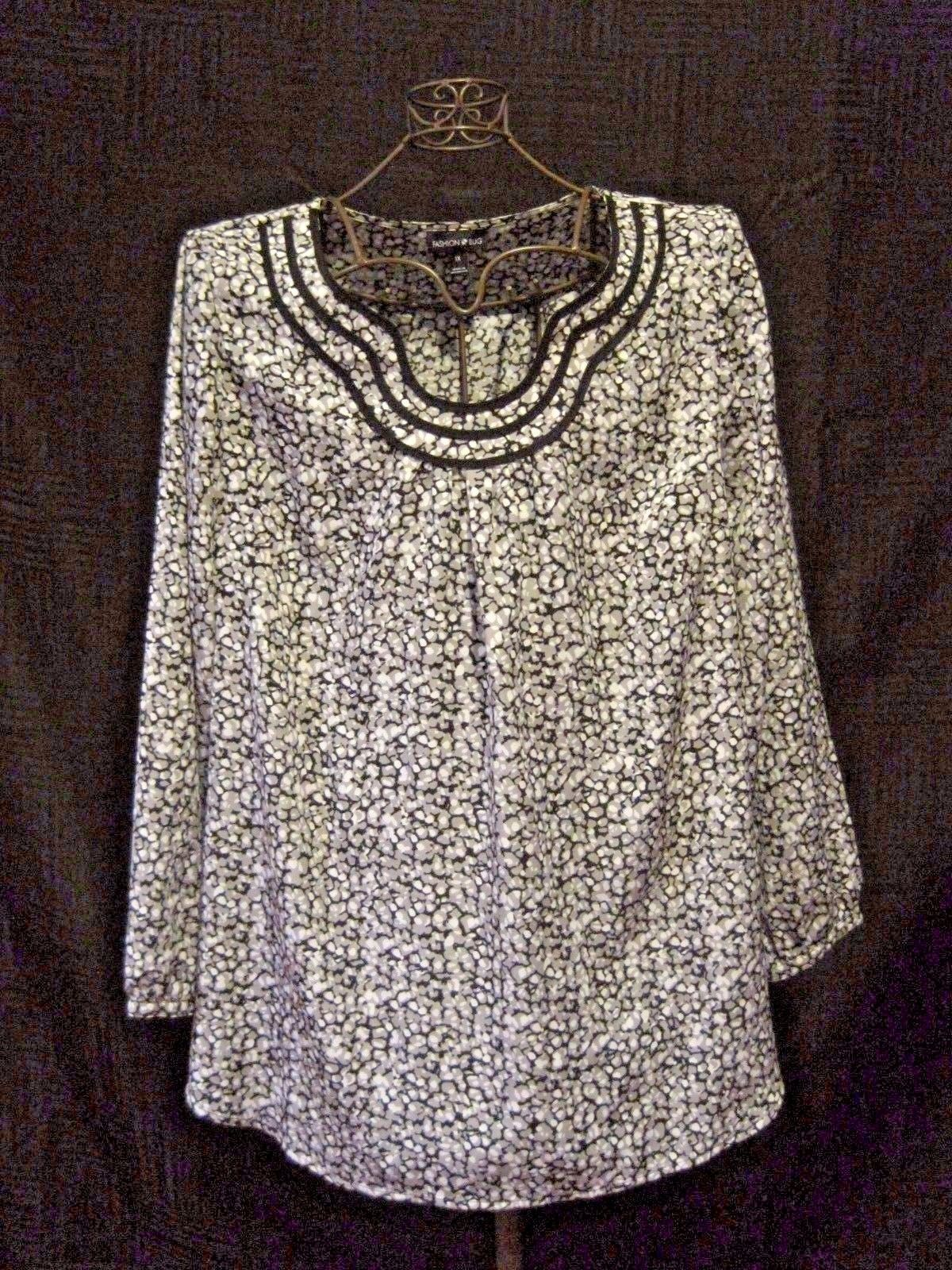 "Womens FASHION BUG Gray/Black Long Sleeve Peasant/Boho Blouse 1X 50"" EUC   eBay"