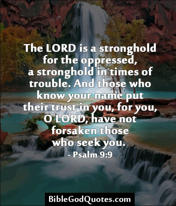 ✞ ✟ BibleGodQuotes.com ✟ ✞  The LORD is a stronghold for the oppressed, a stronghold in times of trouble. And those who know your name put their trust in you, for you, O LORD, have not forsaken those who seek you. - Psalm 9:9