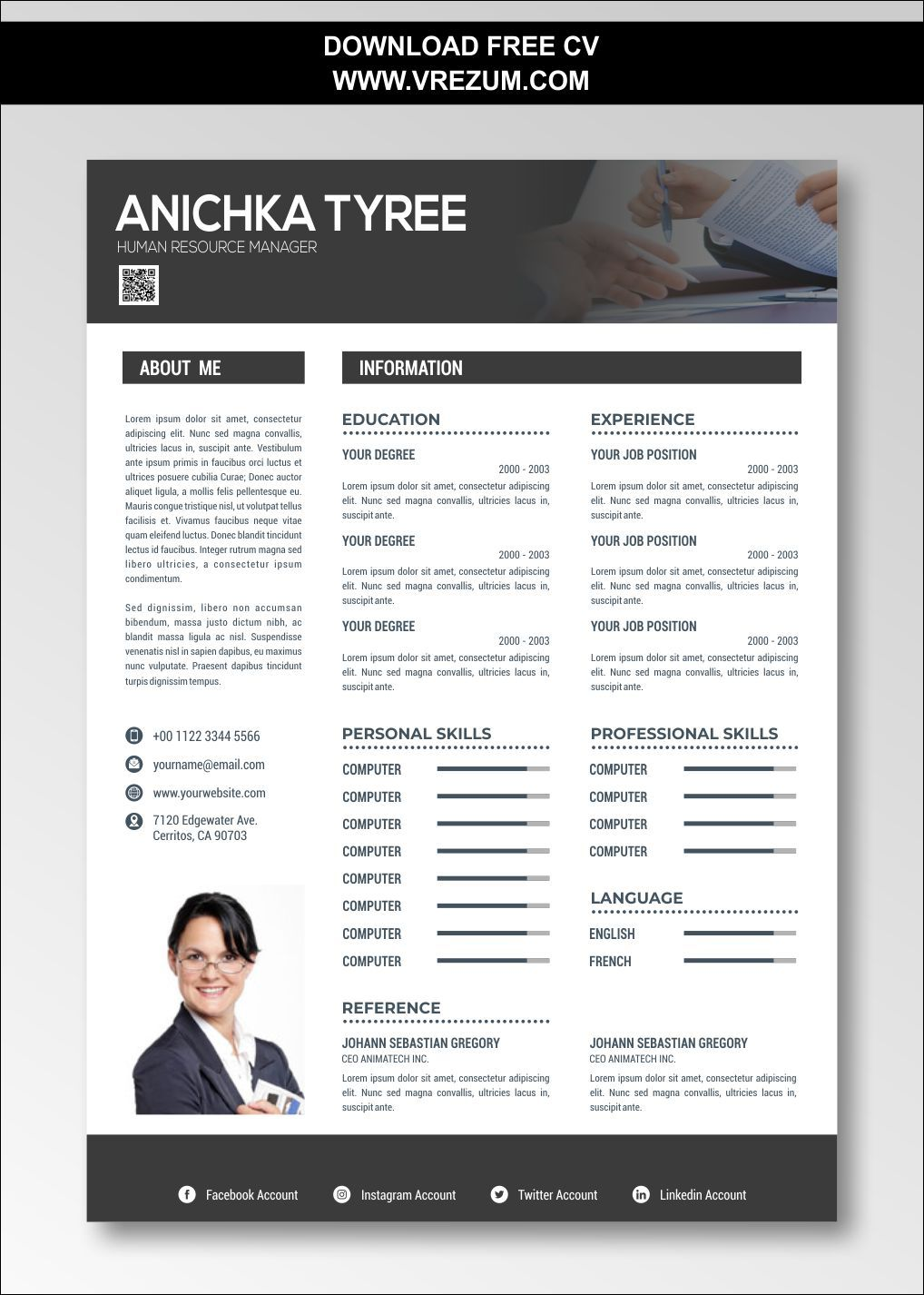 (EDITABLE) FREE CV Templates For HR Manager in 2020 Cv