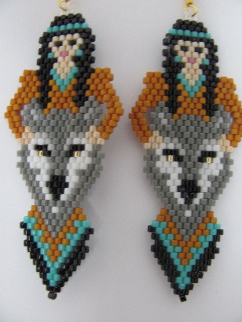 Hand Beaded Indian Maiden And Grey Wolf Dangling By