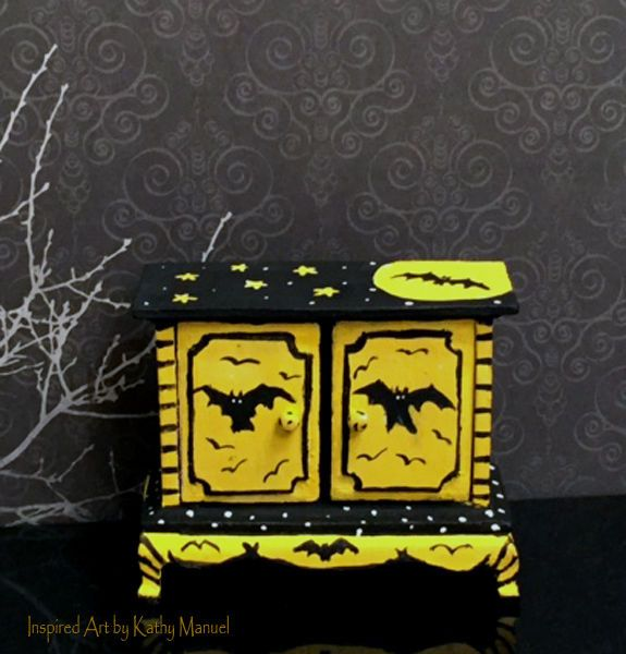 Dollhouse Miniature Painted Halloween Cupboard Stand Bats Moon by K.Manuel…