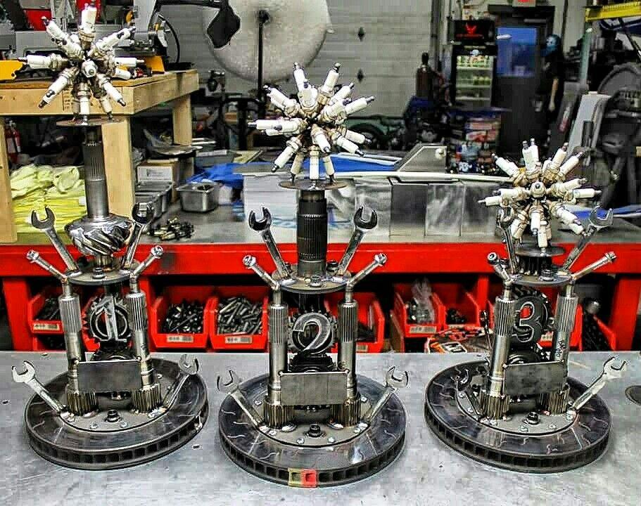 Junk metal art trophies raced parts nascar welding winners cold hard art