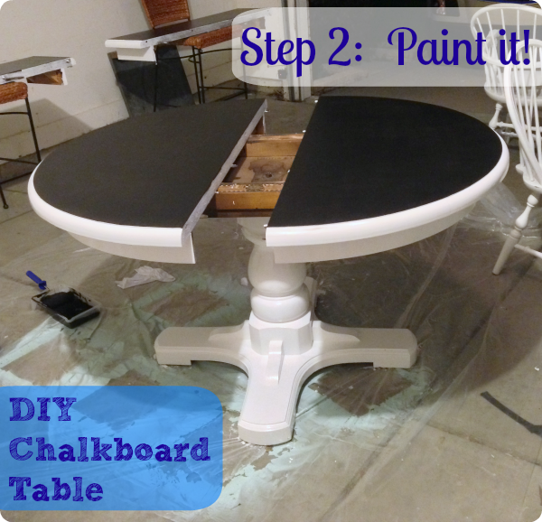 DIY Kitchen Painted Chalkboard Table  Add Chalkboard Leaves To Make A Super  Mega Party Table