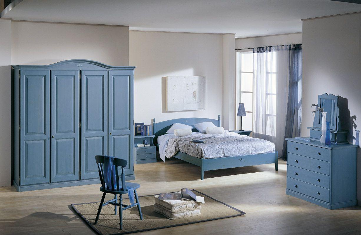 Camera matrimoniale in legno di pino con armadio 4 ante, letto ...