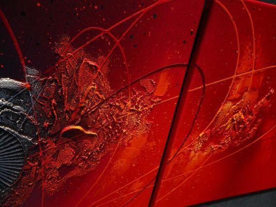 tableau abstrait diptyque contemporain toile design peinture acrylique en relief noir rouge. Black Bedroom Furniture Sets. Home Design Ideas