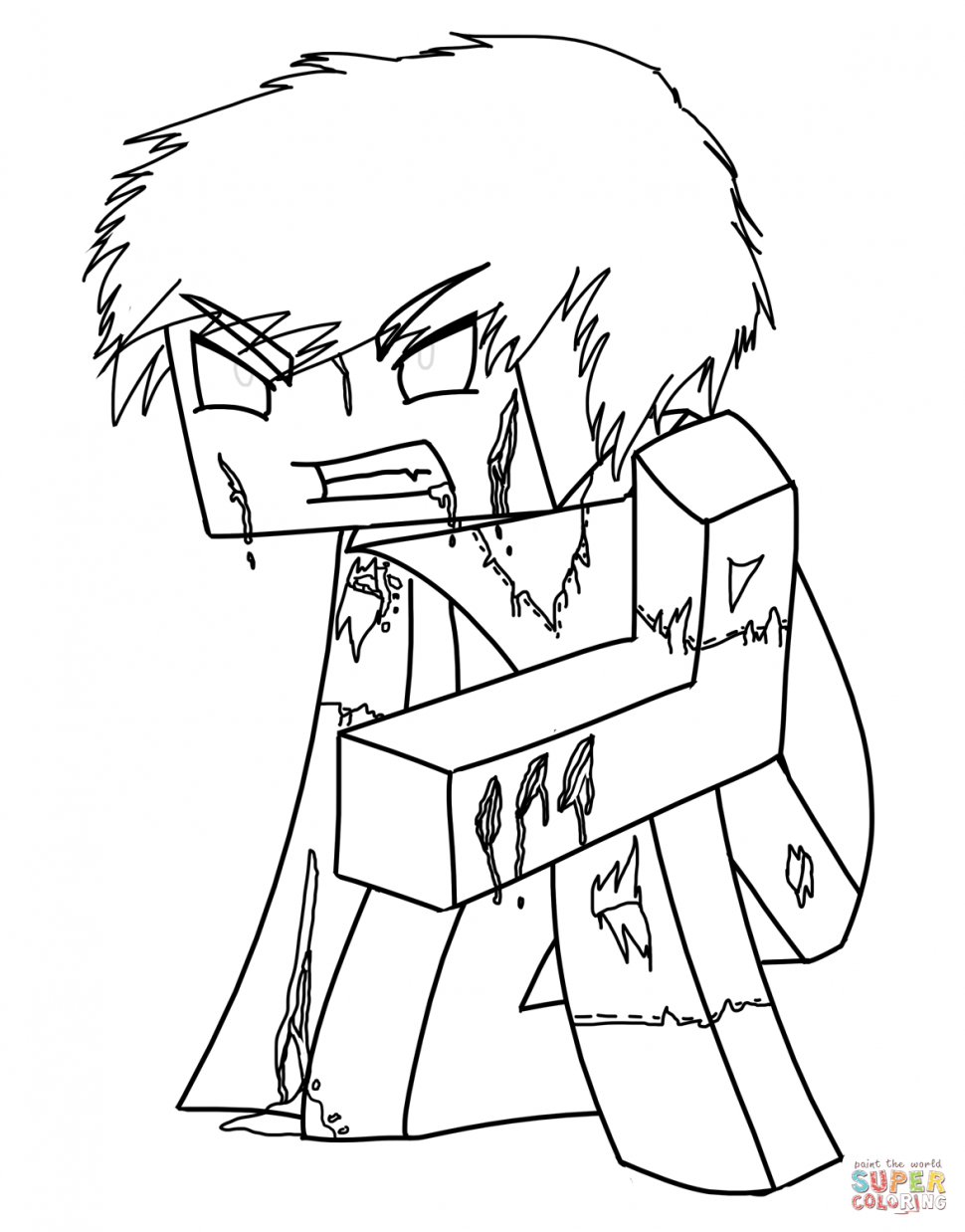 Minecraft herobrine by coloring page in pages printables hawii