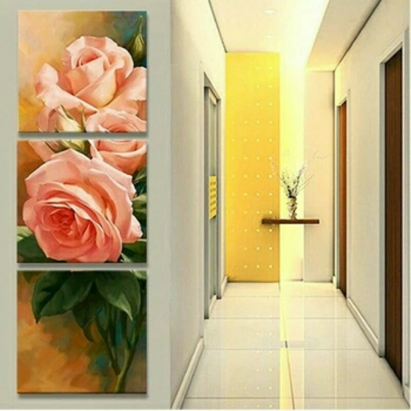 Delightful Pink Rose 3 Piece Canvas Wall Decor **WORLDWIDE SHIPPING ...