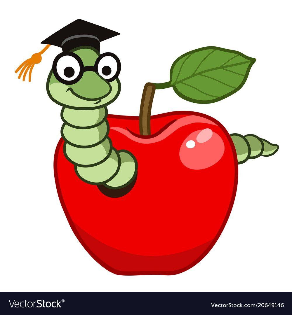 Bookworm In Apple Vector Image On Vectorstock Character Illustration Apple Vector Cartoon Drawings