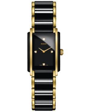 7a693d728 Rado Women's Swiss Integral Diamond Accent Black Ceramic & Gold-Tone  Stainless Steel Bracelet Watch 23x33mm R20845712