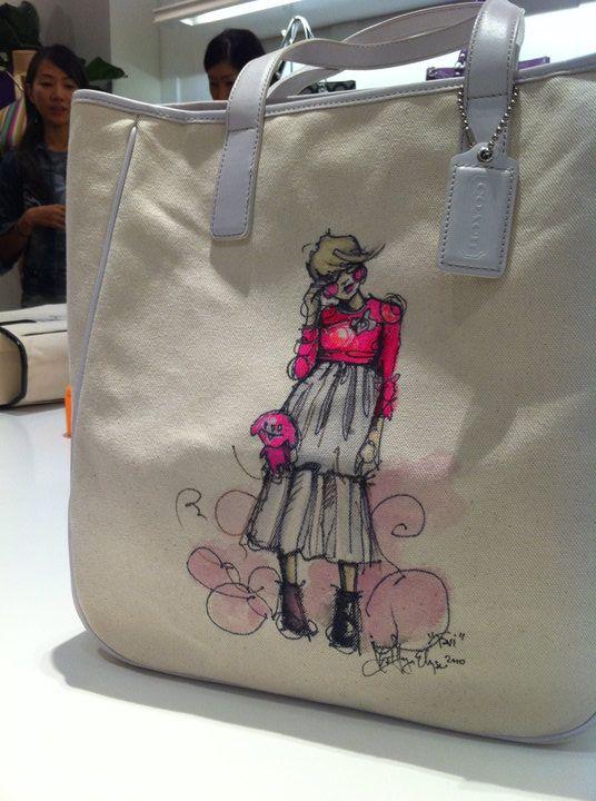 fashion illustration on a bag