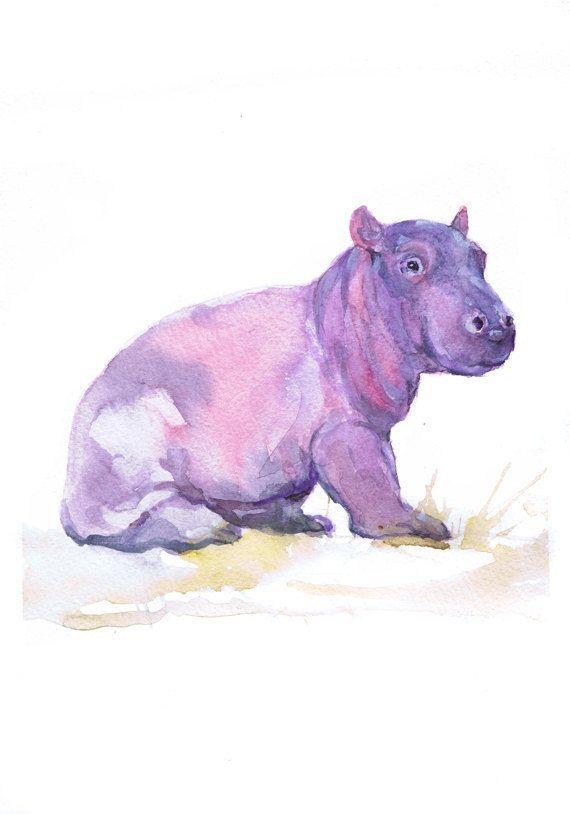Baby Hippo Art, Watercolor Painting, Baby Girl Nursery Decor, Boy, Hippopotamus Print,Wall art, Safari, Gift ideas Animal Prints Watercolour